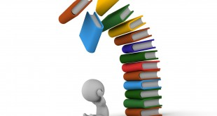 3D Man depressed with books falling over him