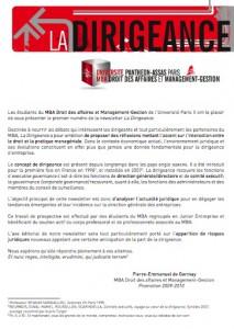 Newsletter du Master MBA Droit des Affaires et Management Gestion- La dirigeance n°2
