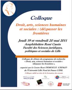 Conférence Lille 2: Droit, arts, sciences humaines et sociales: (dé)passer les frontières
