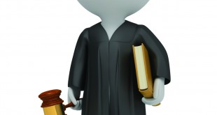 3d small people - judge in a cloak with a hammer and the book. 3d image. Isolated white background.