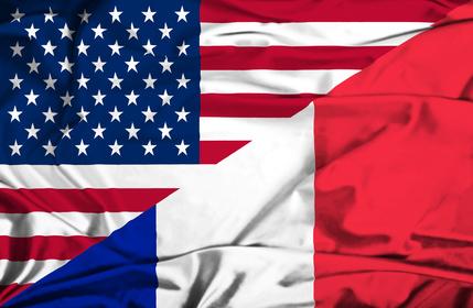 Waving flag of France and USA