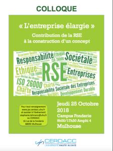 Colloque «L'entreprise élargie: contribution de la RSE à la construction d'un concept» à Mulhouse